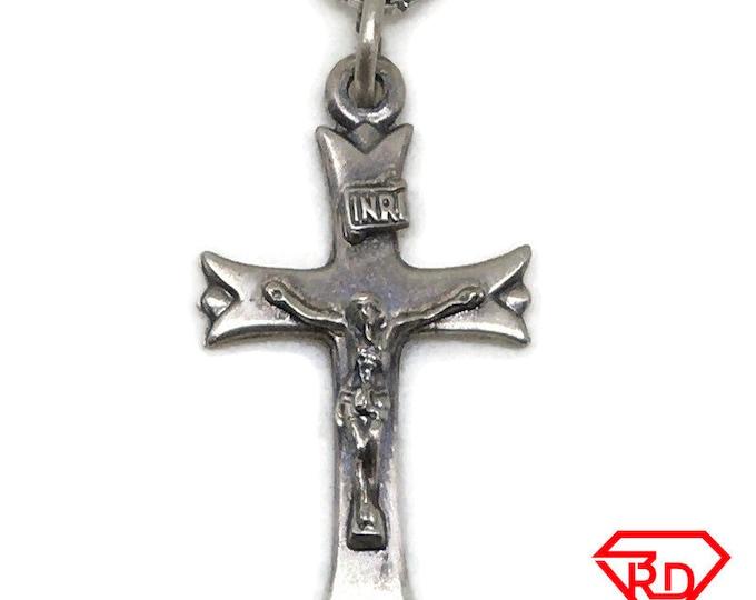 Black Matt silver cross of jesus pendant