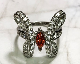 NEW 14k White Gold Layered on Sterling Silver Butterfly with Orange Stone Ring