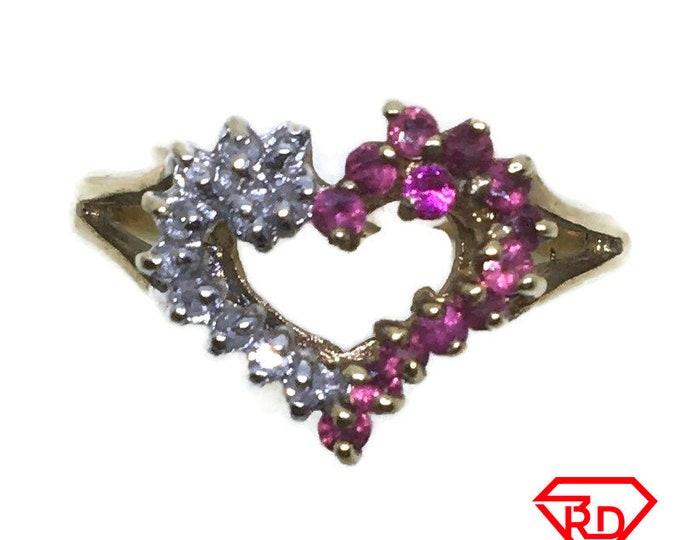 Heart Ruby & diamond ring 10k yellow gold S7