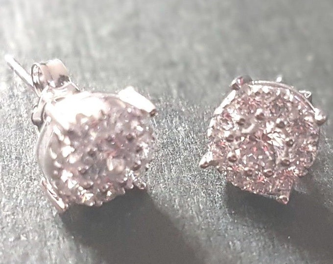 New 14k white gold layer on 925 cubic zirconia circle round bling bling earrings