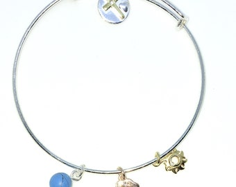 New White Gold Layered on 925 Solid Sterling Silver Bangle Bracelets cross & balls Expandable slip in