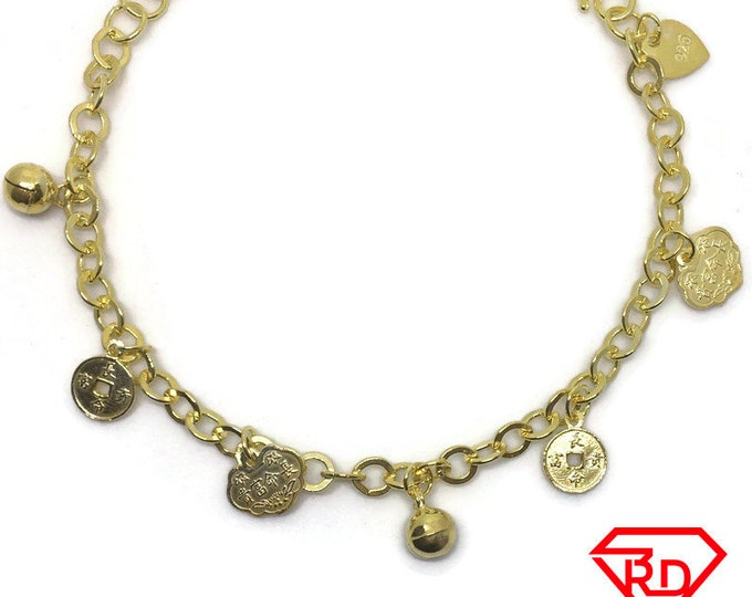 Bell & Fortune charm 7 inch Bracelet 999 Yellow Gold Layer