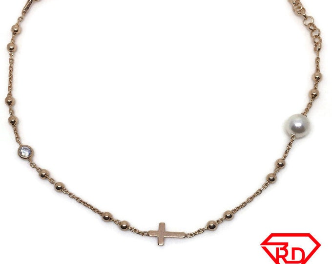 Cross pearl CZ Bracelet 8 inch chain Rose gold on silver