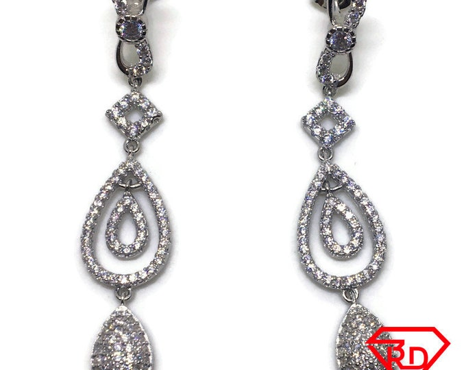 White round CZ teardrop long dangle Earrings white gold layer