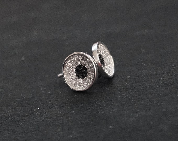 New 14k White Gold on 925 Sterling Silver Silver Black Surround CZ Stud Earrings ( 9 . 7 mm )
