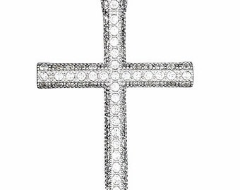 Certified Fashion Round Cross Pendant Micro Pave CZ .925 Sterling Silver