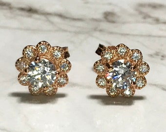 NEW 14K Gold Layered on Sterling Silver Flower With Stones Stud Earrings
