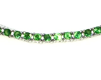 New White Gold Layered 925 Solid Sterling Silver 7 inch 4 prong Round Light Green CZ Tennis Bracelet with Box Clasp