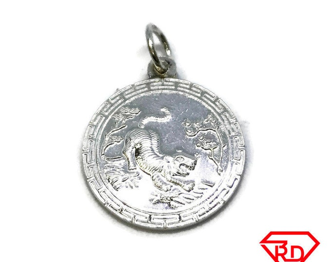NEW .990 Sterling Silver Year of the Tiger Lucky Pendant