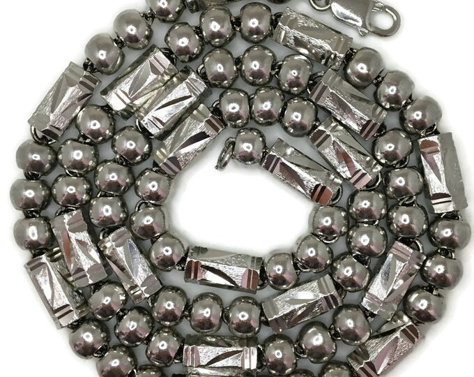 Bars & beads chain large Necklace 28 inch white gold on silver