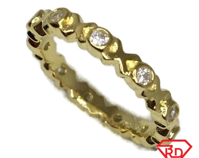 Brand New Yellow Gold on 925 Sterling Silver XOXO Eternal Ring Band round white cz ( size 7 )