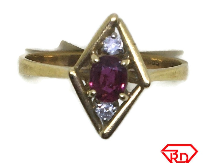 Rhombus Ruby & diamond ring 14k yellow gold S6