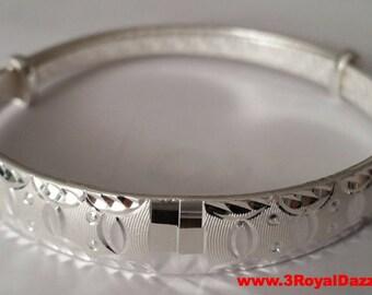 Handmade Fancy Pattern 999 Solid Fine Silver Adjustable Bangle