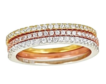 14k ywr gold layer on 925 silver stackable half eternity cz 3 rings set size 6