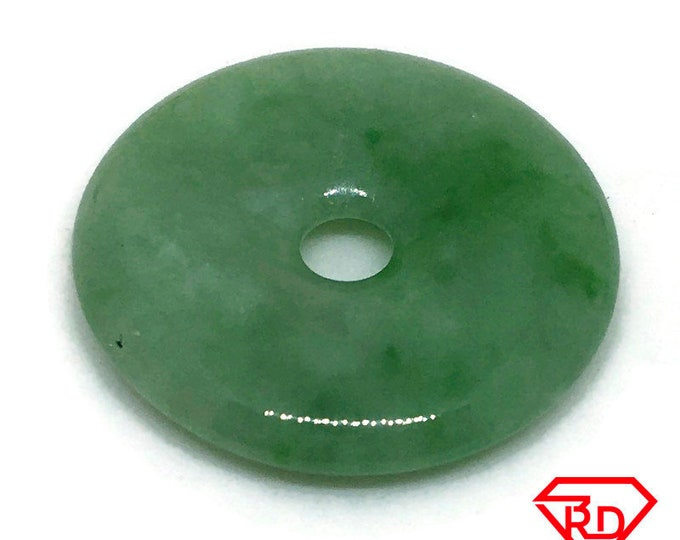 Medium Smooth plain Round Darker Green Jade Pendant Charm