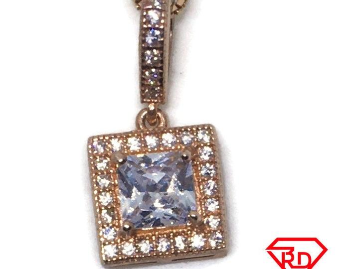 Princess CZ tiny pendant Rose gold on Silver