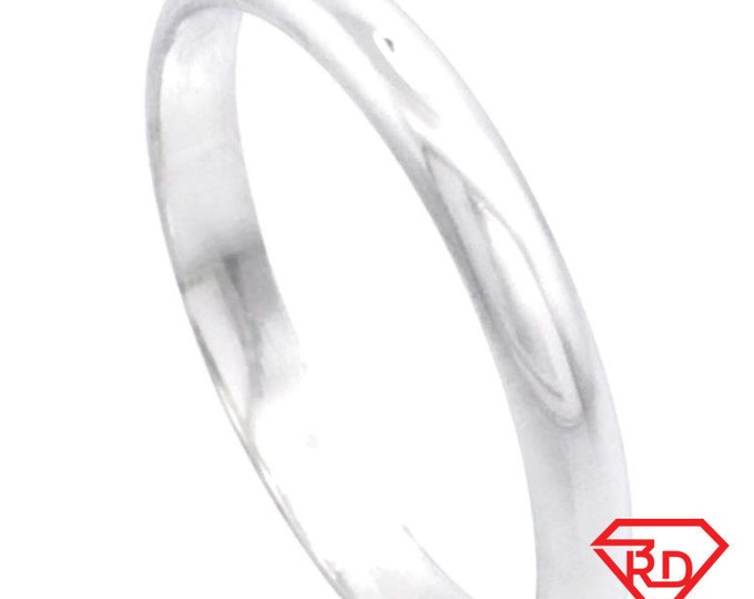 New italy 14k white gold layered on silver polish wedding band ring 2.9mm size 9