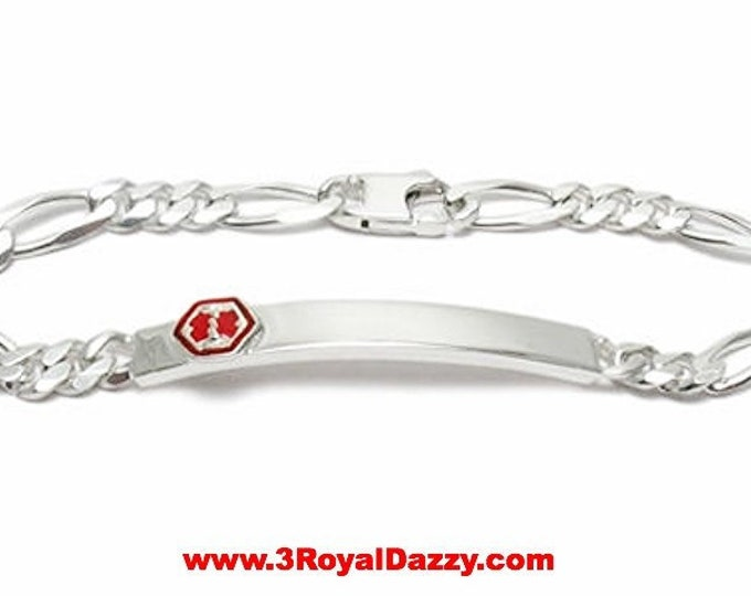 """925 Sterling Silver Personalized MEDICAL Alert Figaro Link I.D. Bracelet 5.5mm 8"""""""