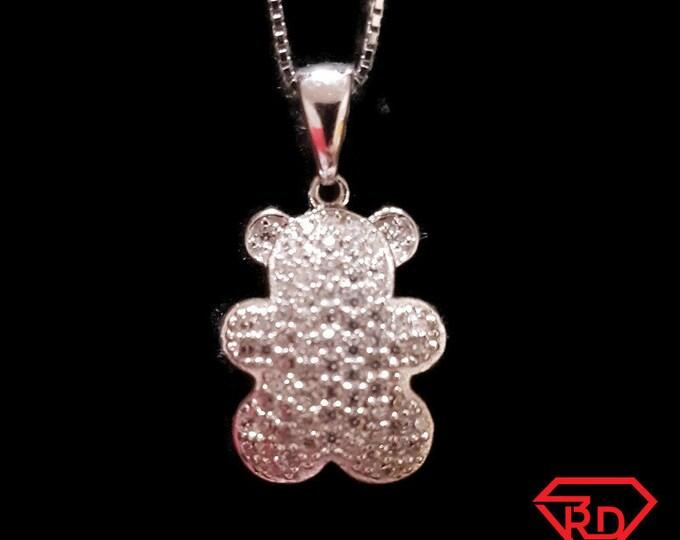 New 14k White Gold On 925 Teddy Bear Pendant Charm