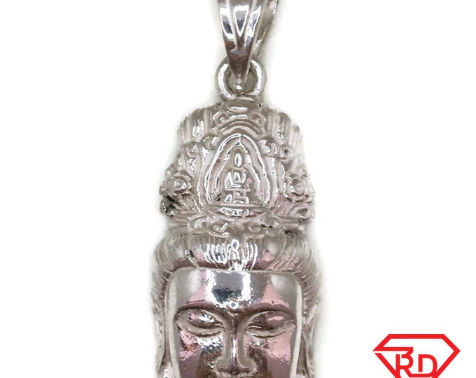 Buddha Head pendant extra large smooth super heavy solid silver