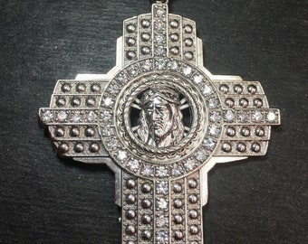 New Huge XXXLarge handset 8ct cz Cross Jesus Face religious charm Bling Bling men pendant