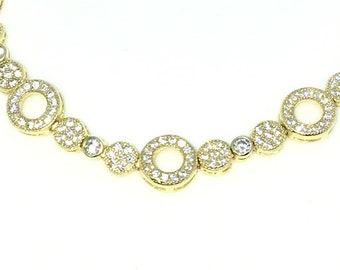 New Yellow Gold Layered 925 Solid Sterling Silver 7 inch Circle rows Small Round White CZ Tennis Bracelet with Ladder Clasp
