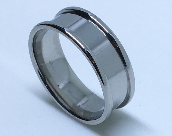 7 . 9 mm Brand New White Gold Plated with Bulging Edges on Stainless Steel ring band