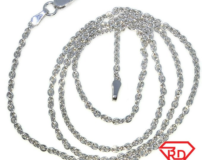 New White Gold Layered 925 Solid Sterling Silver 18 inch plain round rolo Chain Necklace with Lobsterclaw clasp