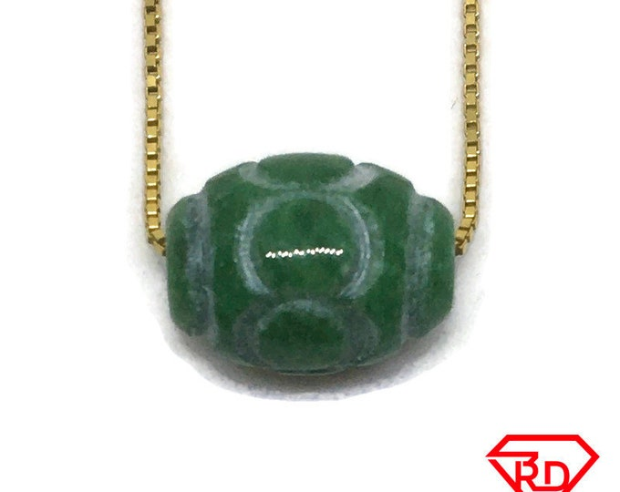 Oval Bead Green Jade Pendant with Free chain