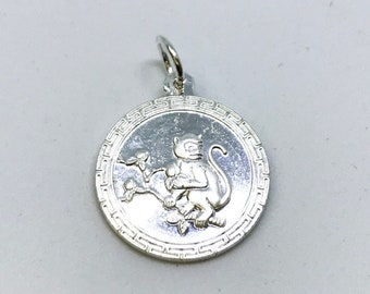 NEW .990 Sterling Silver Year of the Monkey Lucky Chinese Horoscope Pendant