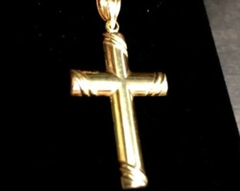 New italian christian cross 14k yellow gold layer over 925 silver pendant charm