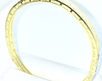 New Yellow Gold Layered on 925 Solid Sterling Silver Bangle Bracelets Full white CZ Oval Slip in