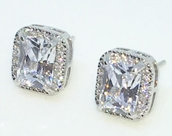 14k White Gold Layered Rectangular shaped CZ with large center CZ on 925 Solid Sterling Silver Stud Earrings ( 9 . 3 mm )