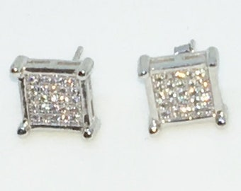 14k White Gold Layered Square shaped CZ on 925 Solid Sterling Silver Stud Earrings ( 9 . 5 mm )