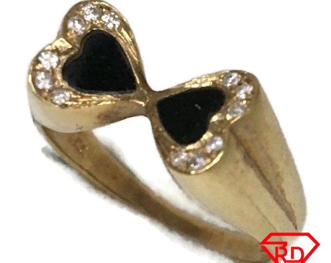 14K Double Heart ring Diamond with Onyx and yellow gold