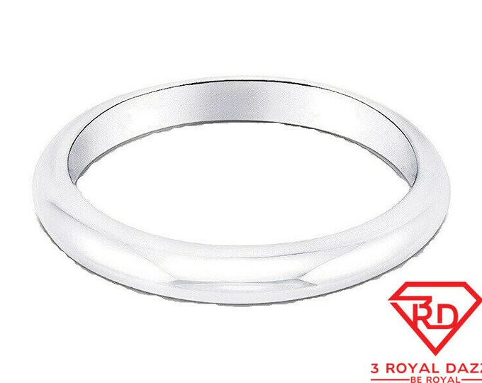 Italy 14k white gold layered on.925 silver high polished wedding band ring 4mm Size 10.75