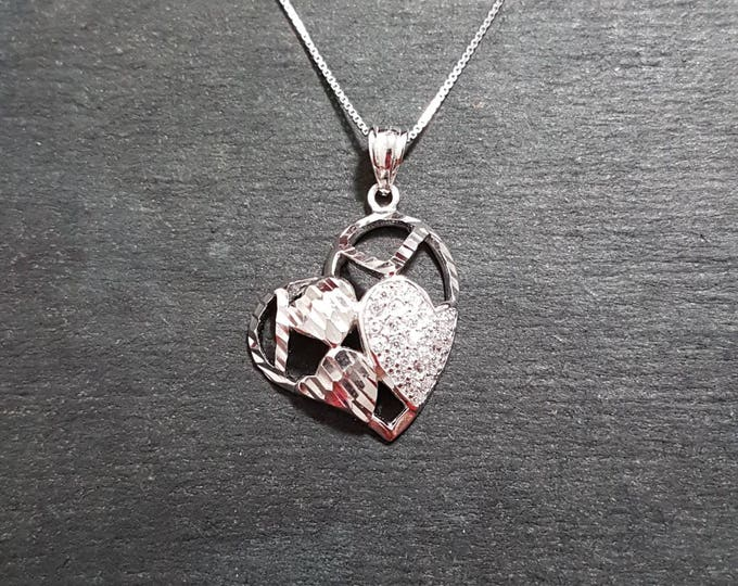 New 14k White Gold On 925 Encompassed Hearts Charm Pendant