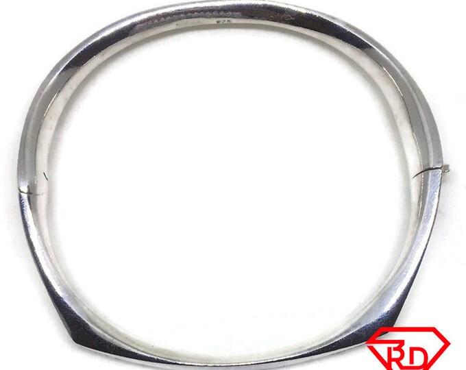 Heavy smooth Oval clip on Bracelet 925 Silver