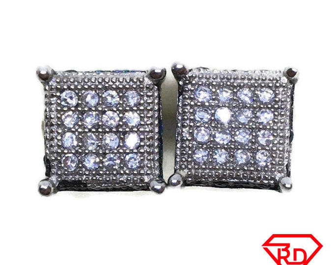 Medium Square black & White CZ stud Earrings white gold layer