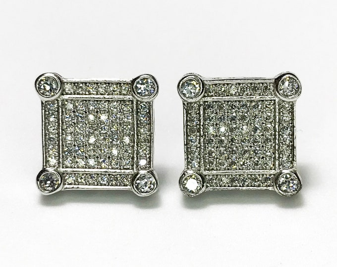 NEW Layered 14K White Gold on Sterling Silver Square - with Stones Stud Earrings