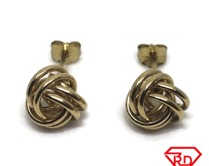 String Knot ball stud Earring 14k Solid Yellow gold