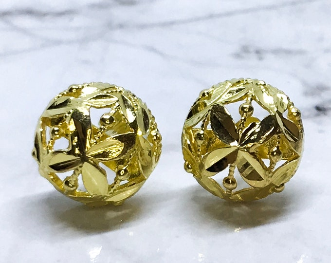 NEW 14K Yellow Gold on Sterling Silver Dome Shaped Stud Earrings