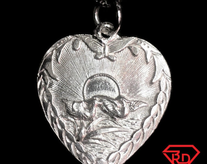"New 925 Silver Chinese Character Writing ""Lucky"" &  Love Doves Heart Charm Pendant Reversible Design"