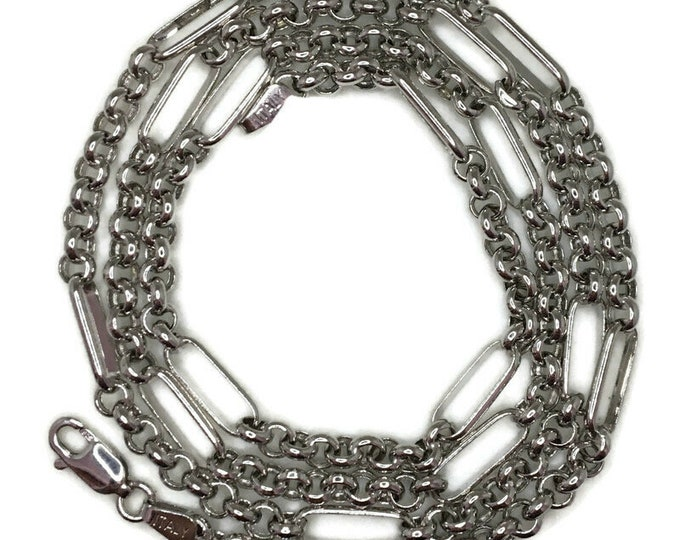 semi round rolo chain Necklace 22 inch white gold on silver
