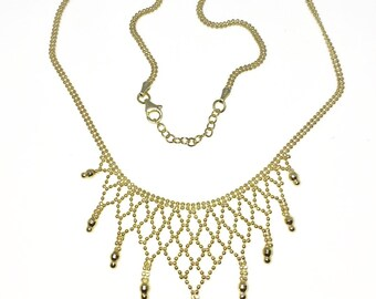 Brand New Yellow Gold on 925 Solid Sterling Silver 16 inch Net Shape Double Bead chain Necklace with Lobster Claw Clasp and Extension