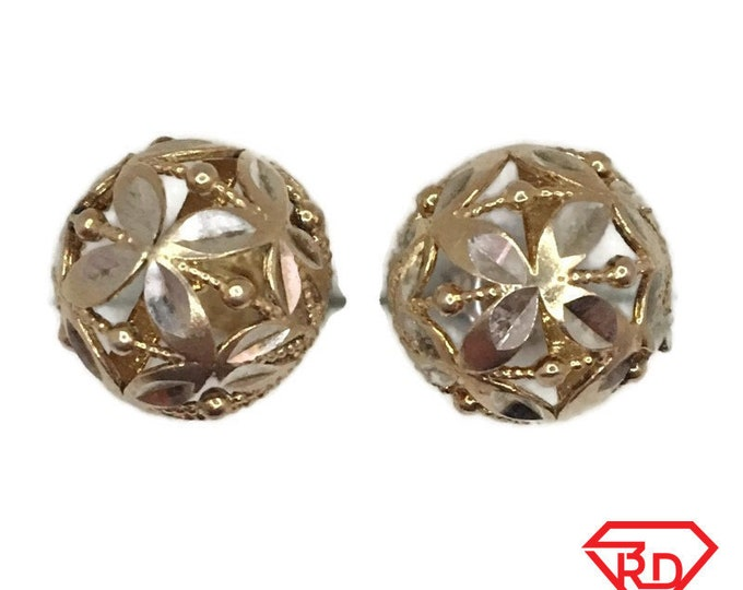 Brand New Yellow gold on 925 Silver Studs Earrings half-sphere with diamond cut design ( 11 . 9 mm )