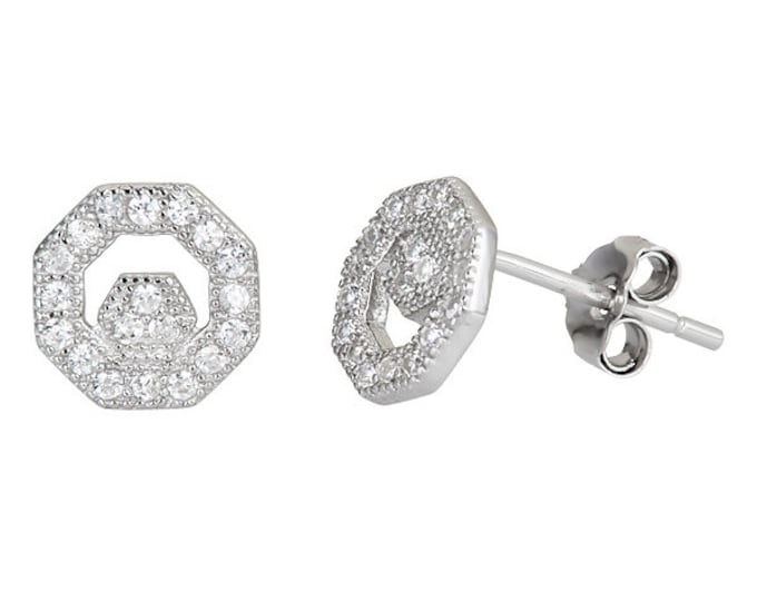 Octagon style micro pave with Cubic Zirconia .925 Sterling Silver Stud Earrings