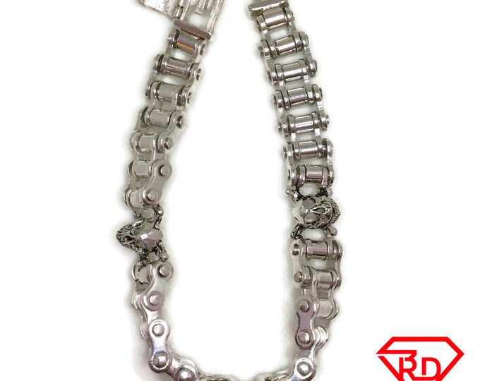 Skull Biker Chain bracelet white gold on silver
