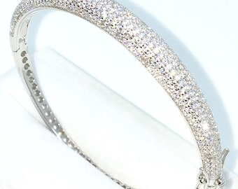New White Gold Layered on 925 Solid Sterling Silver Oval Bangle Bracelets bulgy rows white round CZ and Box clasp