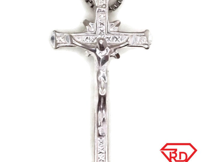 New Handcraft Anti-Tarnish 925 Silver Pendant small crucifixion of jesus and free chain